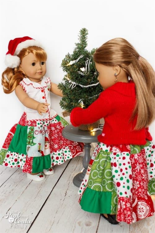 Cute American Girl Doll Clothes sewing pattern to make fun and full twirl skirts for the dolls. Love the Christmas fabric!