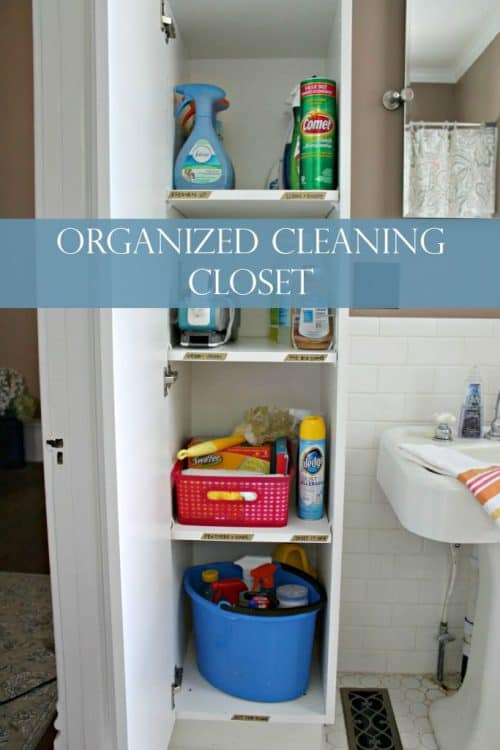 organized cleaning closet