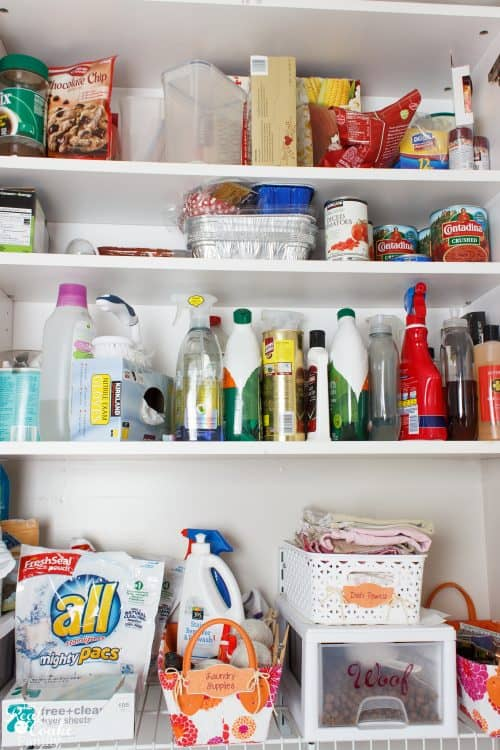 LOVE this easy way to have organized cleaning supplies. Using office supplies to organize is a genius idea.