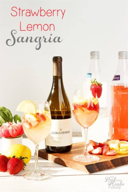 It is so fun to find new, yummy drink recipes! This Strawberry Lemon Sangria is actually a cross between a Mimosa and a Sangria and is perfect for Easter, brunch or any day.
