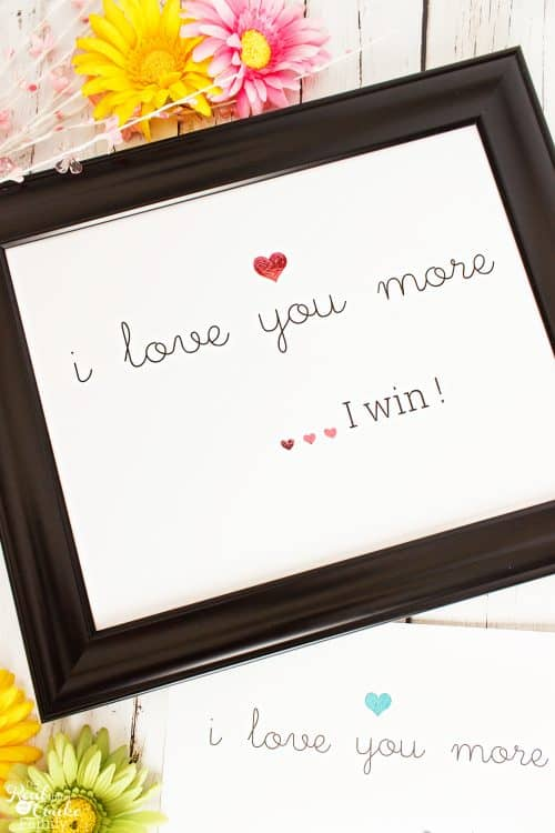 i love you more I win wall art in frame with foiled hearts