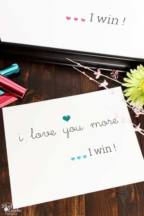 blue I love you more I win wall art