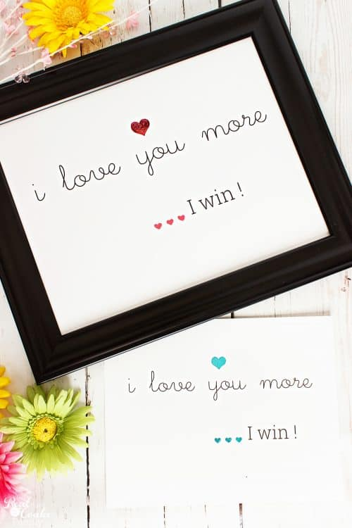 pink i love you more I win wall art