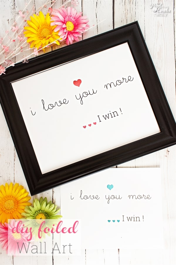 picture of I love you more I win printable wall art in frame