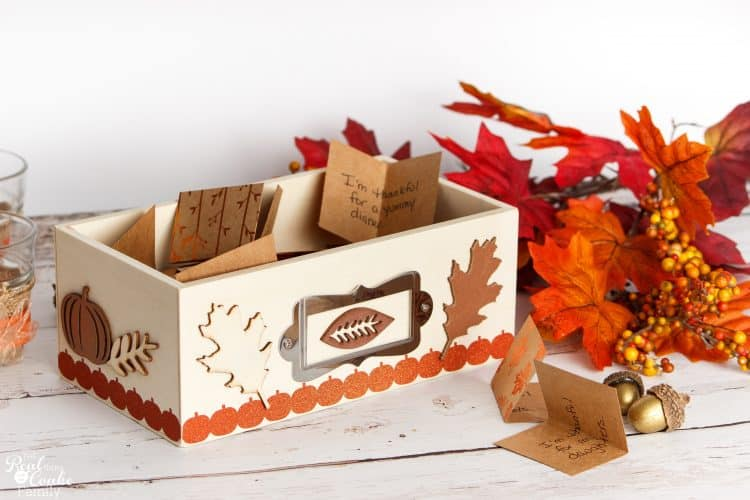 Simple thanksgiving decoration thankful box craft for Easy cheap thanksgiving decorations