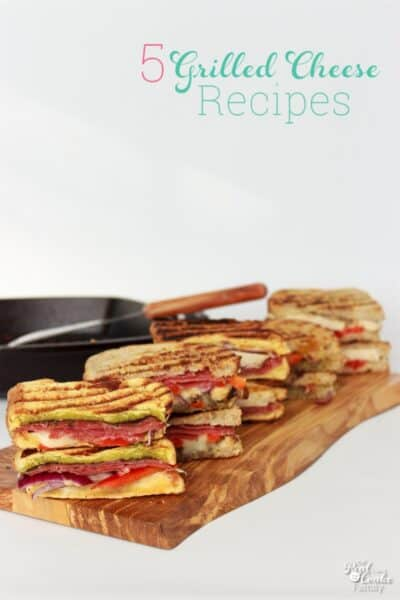 These are 5 amazing grilled cheese sandwich recipes with a quick and easy idea to make a grilled cheese bar. Perfect for a fun and easy family dinner.