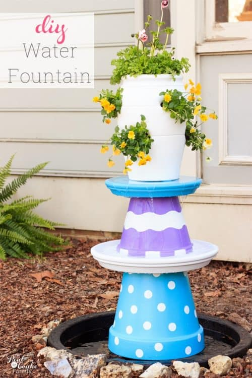 Great outdoor water feature idea for the yard. Love the colors and whimsy of this DIY small water fountain that can also be a bird bath