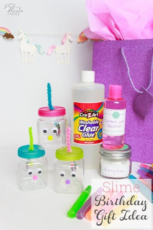 This is the cutest DIY birthday gift idea for kids. It is so creative and fun. Love the slime recipe, unicorn containers and idea for our next birthday party gift.