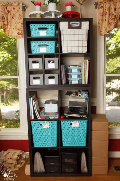 picture of 2 freestanding bookshelves stacked on top of each other