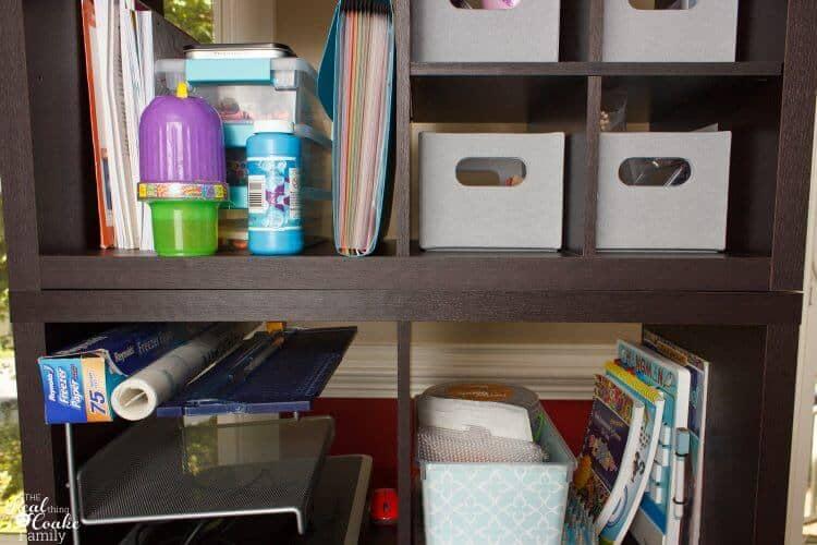 showing lining up 2 freestanding bookshelves