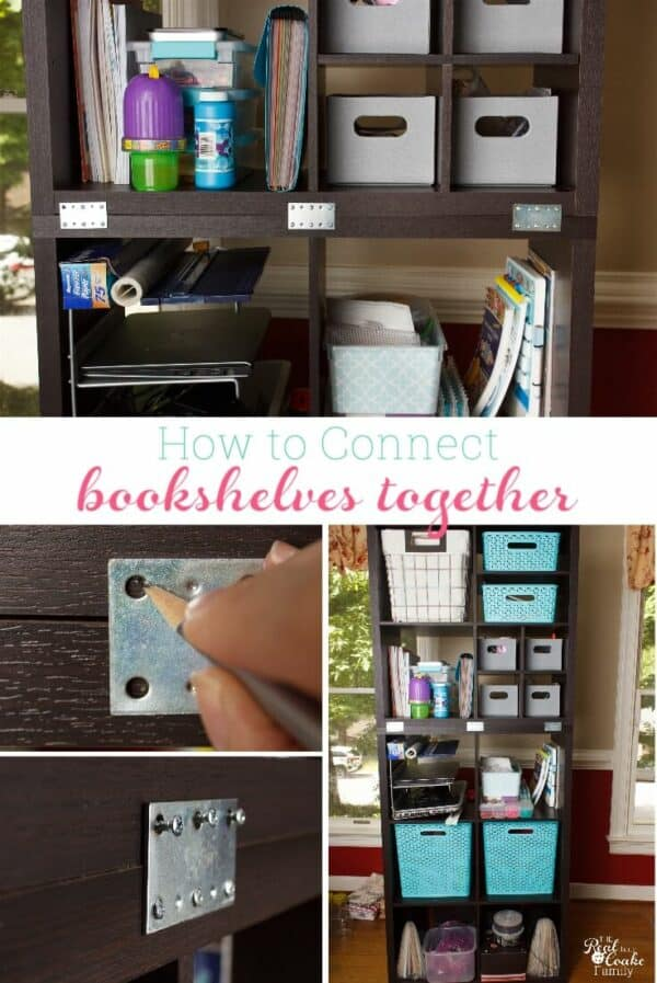 collage picture showing connecting freestanding bookshelves together