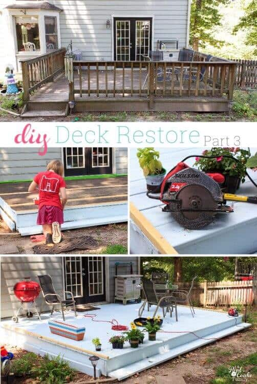 Love this DIY deck restore project they are completing on a small budget. Great cheap ways to fix up the backyard outdoor space. and make it pretty again.