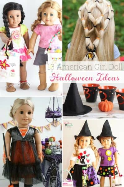 These are 13 simple DIY AG Doll Crafts for Halloween! Cute and Easy ideas for accessories, clothes and costumes. Perfect American Girl Doll Halloween Ideas and crafts for this year.