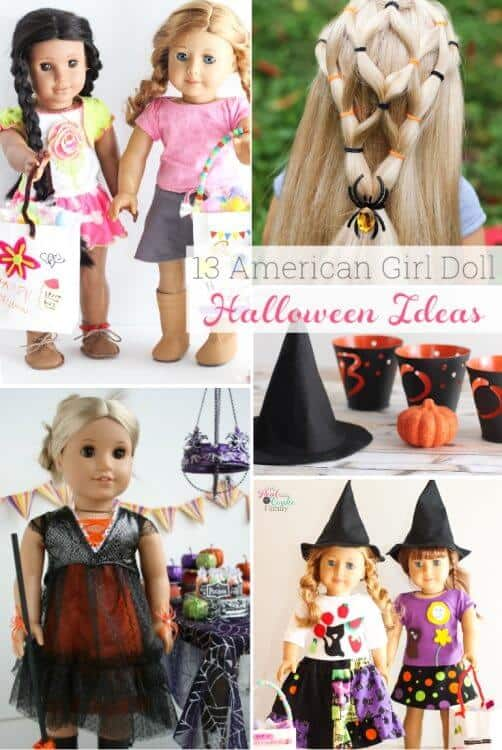 These are 13 simple DIY AG Doll Crafts for Halloween! Cute and Easy ideas for accessories, clothes and costumes. Perfect Halloween crafts for our American Girl Dolls this year.