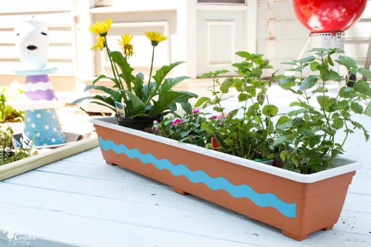 Picture of painted plastic pot with flowers in it