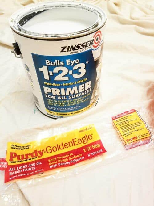 picture of zinsser 1.2.3 primer and purdy roller cover