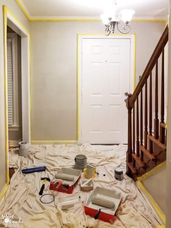 picture showing paint on walls and distinction of using thicker nap roller