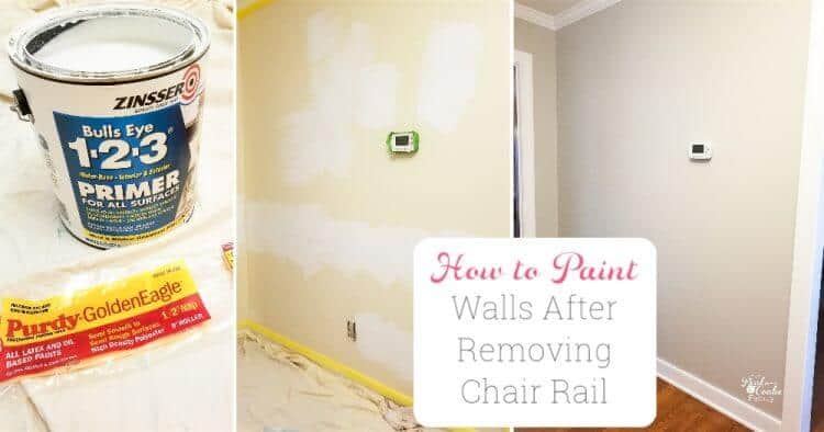 collage image of project of painting after removing chair rail