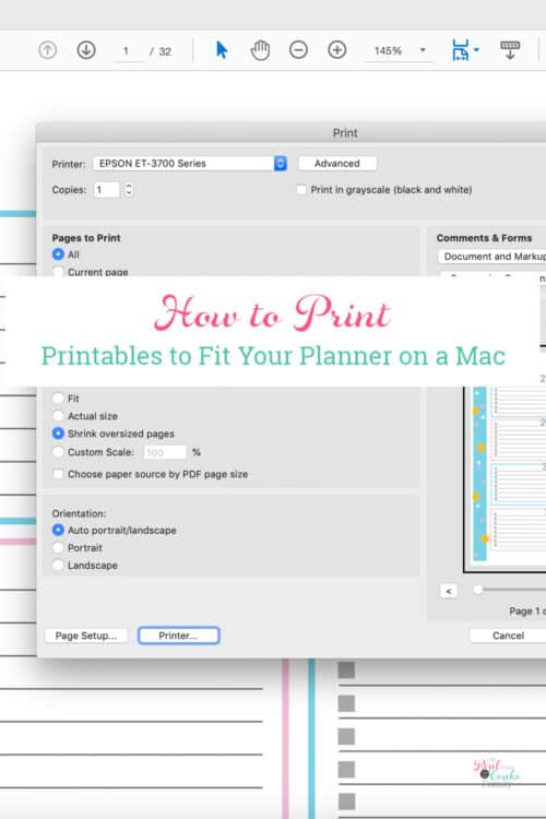 screenshot showing how to print planner pages on a mac