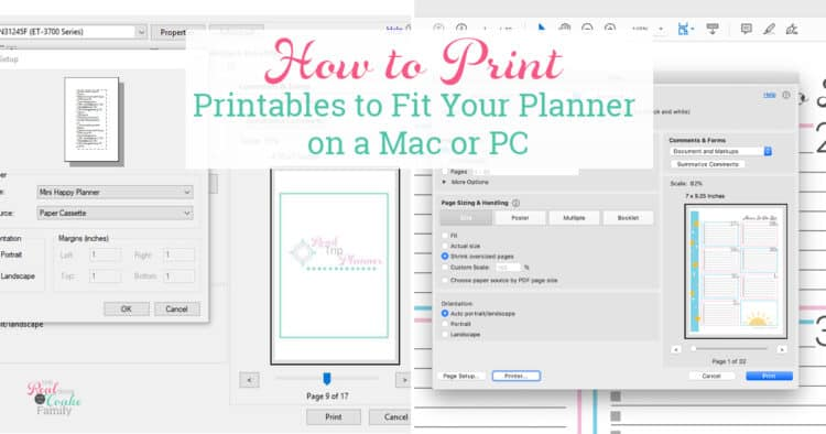 computer screen shots showing how to print planner pages