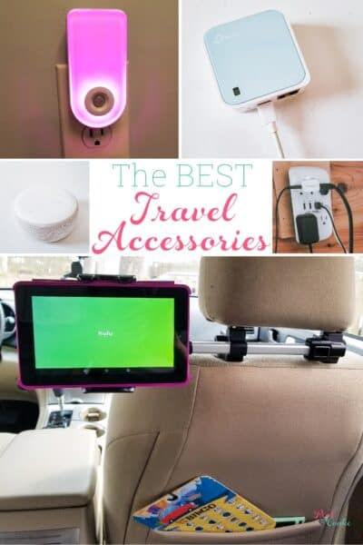 List of travel accessories essential for a family road trip. Combo list of tech gadgets and accessories to make travel with the family easier and more fun.