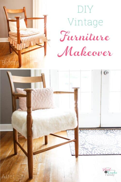 collage of before and after of chair makeover