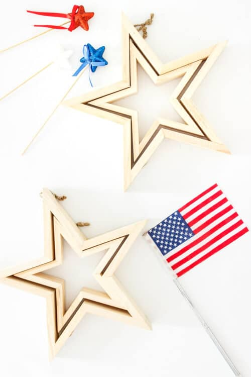 wood stars with American flag