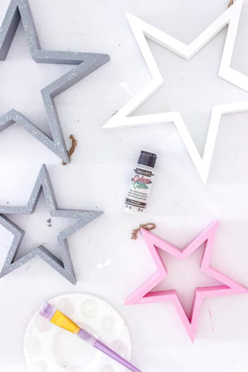 glitter paint with 4 painted stars