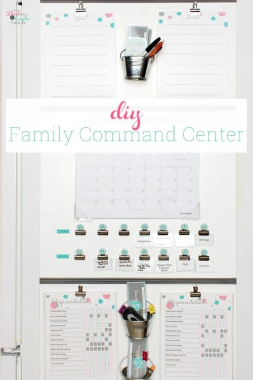 diy command center with calendar, meal plan, kids charts and notes