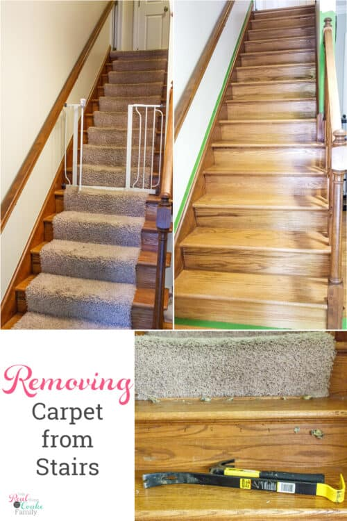 before and after collage how to remove carpet from stairs