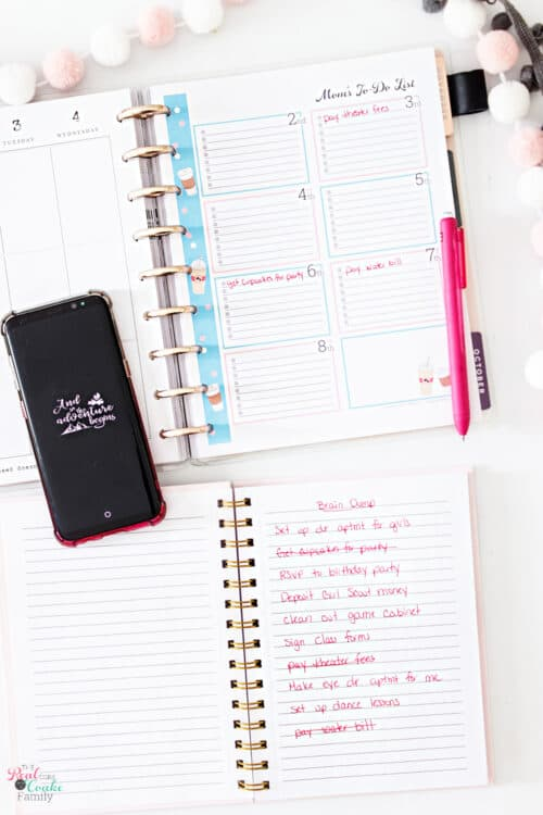planner with items written on three days and brain dump list with items crossed off list