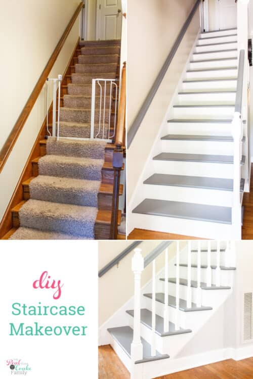 before and after painting stairs makeover