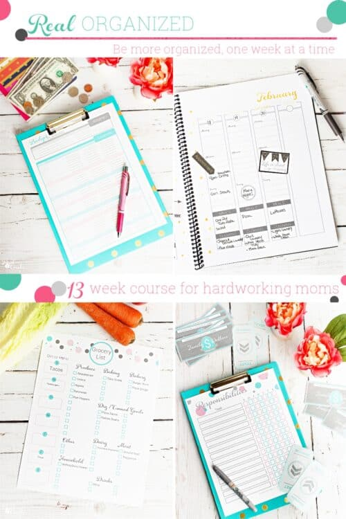 collage picture of organization hacks for moms