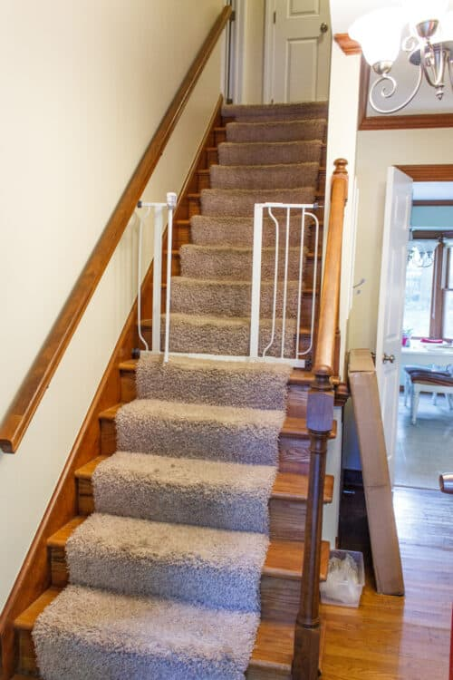 before of stairs with carpet