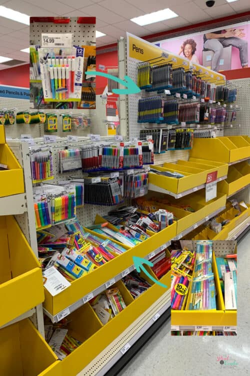 pen and highlighter aisle at Target