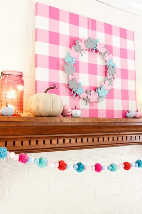 fall wreath on pink gingham wall art