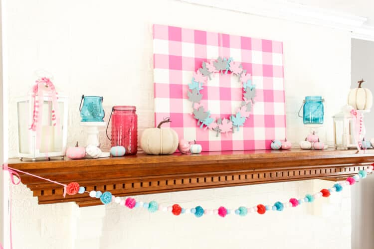 fall mantle with pink, blue and gray