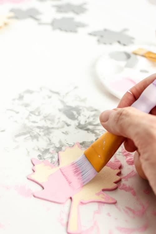 painting top of wood leaf pink