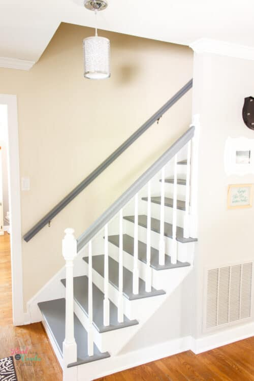 grey and white painted stairs