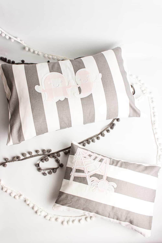 pink and grey halloween pillows