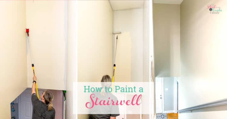 collage of how to paint a stairwell