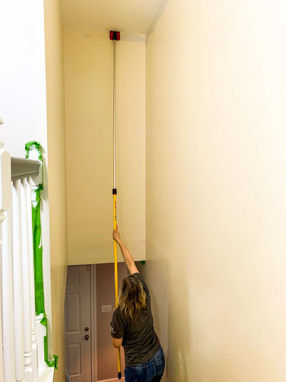 cutting in when painting a stairwell