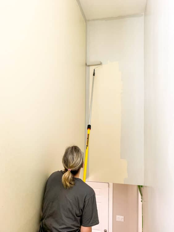 rolling in to paint a stairwell