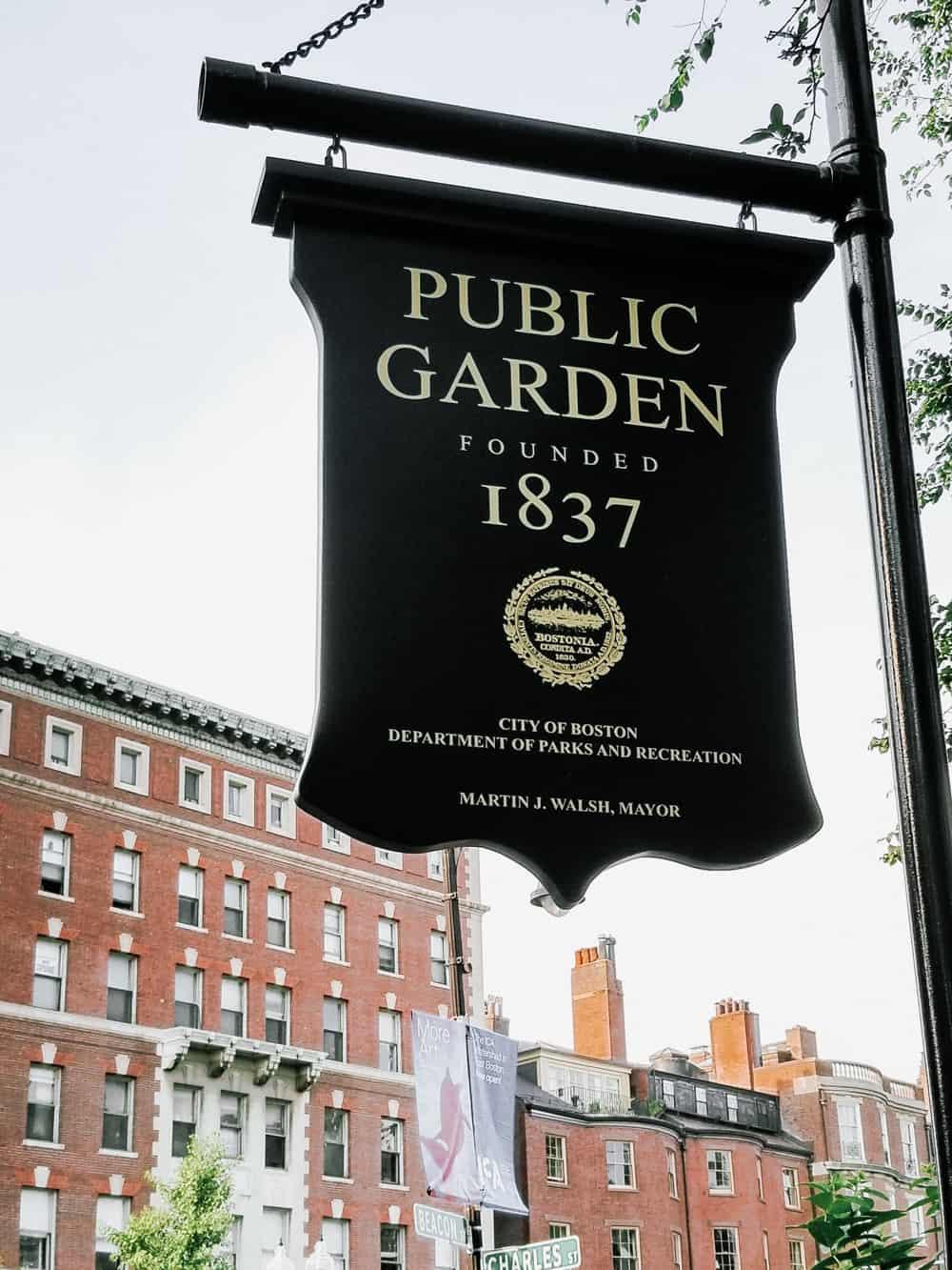 Boston public garden founded sign