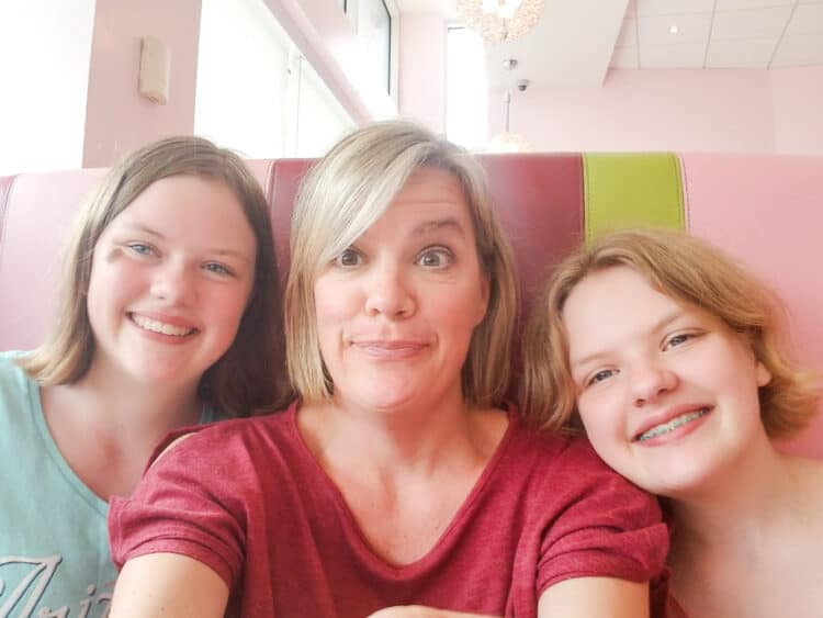 mom and 2 daughters at American Girl Bistro