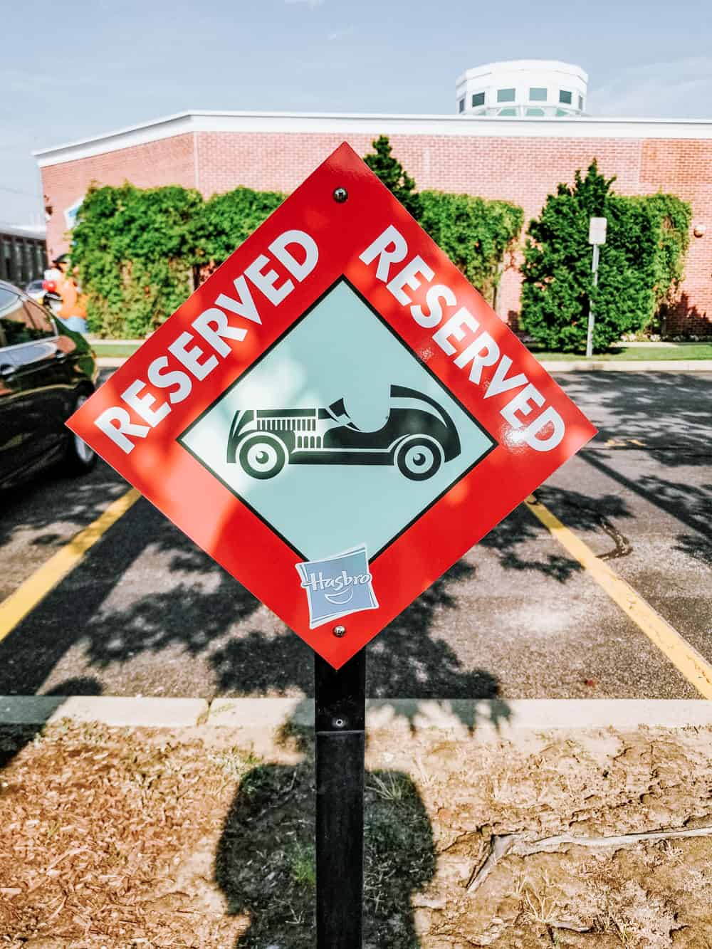 reserved parking sign at Hasbro office in Rhode Island
