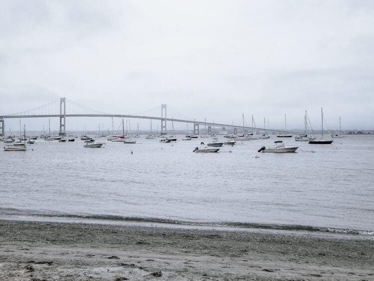 boats and bridge to Newport, Rhode Island