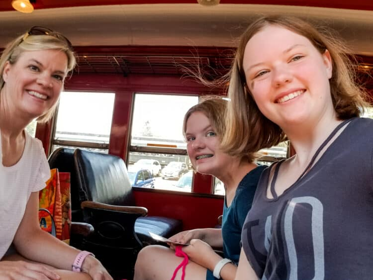 mom and 2 daughters on Essex steam train