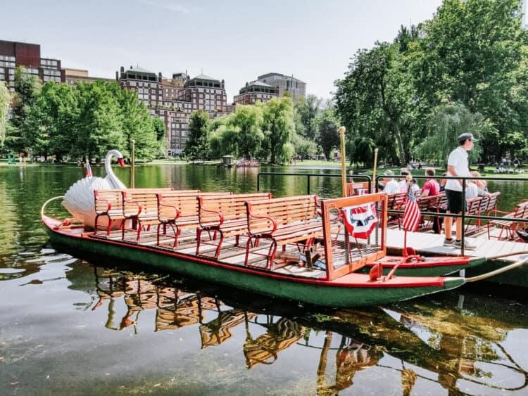 swan boat at Boston Public Gardens