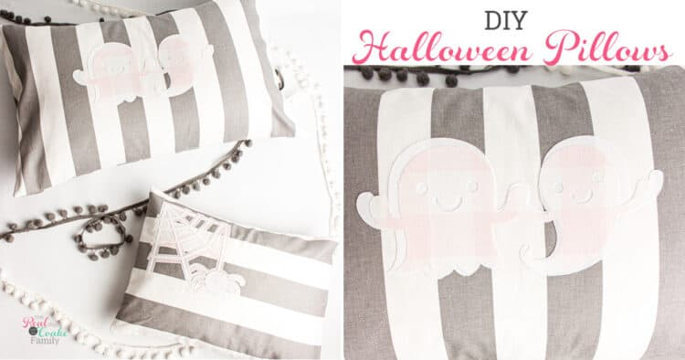 grey, pink and white halloween pillows